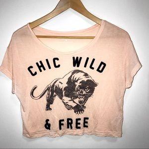 Express Chic Wild & Free light Pink Crop Top- XS